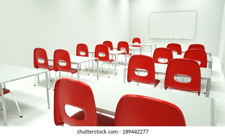 Clean, bright modern classroom or training room