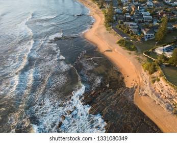 Clean coastline view of Collaroy Beach, Sydney, Australia.