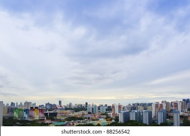 Clean and colorful City outskirt with blue sky- Singapore