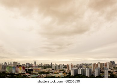 Clean and colorful City outskirt in golden sunset view- Singapore