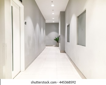 The clean corridor in the building.