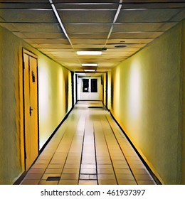 Clean corridor leading to closed doors. Digital illustration of school or office building interior. Medical center building with modern design. Doors to cabinets or departments. Painted style picture