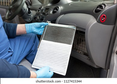 Clean and dirty cabin pollen air filter for a car