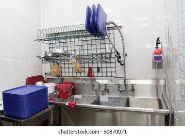 Clean dish washing room in a restaurant