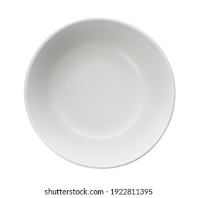Clean empty ceramic bowl isolated on white, top view