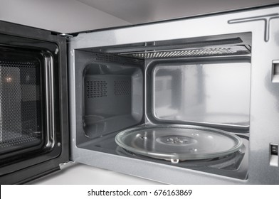 Clean, empty microwave close up