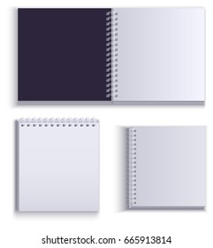 Clean empty paper notepad for notes. Isolated on white illustration
