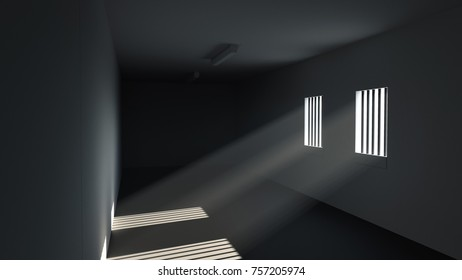 Clean empty sterile room bars on windows prison hospital 3D Illustration