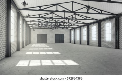 Clean empty warehouse interior. 3d rendering