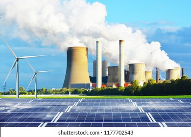 Clean energy generated by solar panels station versus conventional energy with fuel coal power plant