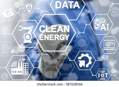 Clean energy industry 4.0 concept. Intelligence factory. IoT, AI, BIG DATA, COMPUTING, ROBOTIC, CLOUD, WIFI integration manufacturing and engineering technology. Ecology power production