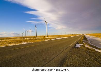 Clean Energy, Power Generating Windmills in Southern Alberta. Near Fort Macloed, Alberta