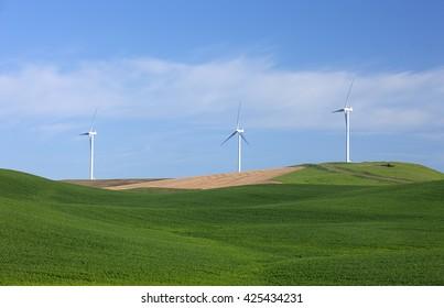 Clean energy wind turbines operating on the palouse region of eastern, Washington.