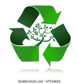 Clean environment - conceptual recycling symbol and green tree. vector file also available / Recycle Symbol