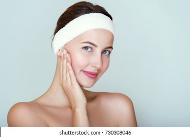 Clean and fresh, Spa girl portrait,moisturizing,cosmetology,face care concept.