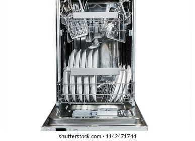clean glasses, glasses and plates, different dishes in the dishwasher isolated on a white background