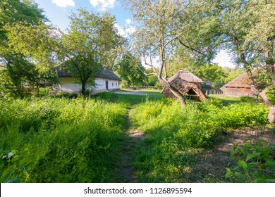 a clean and green courtyard between the old hut and the tree hill in the museum of everyday life. Uzhhorod Ukraine