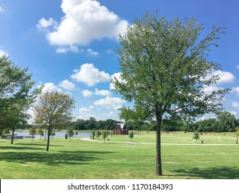 Clean and green lakeside park with pathway trail system and community pavilion shelter in distance. Grassy lawn park with mature trees under sunny summer cloud blue sky in Coppell, Texas, USA