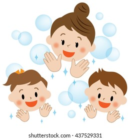 clean hands, mother and kids, smile, icon