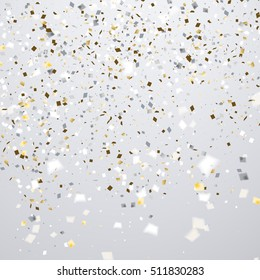 Clean holiday background with flying golden and white confetti, some are out of focus