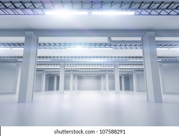 A clean industrial warehouse with lighting.