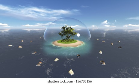 Clean island and polluted sea