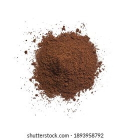Clean isolated ground coffee on white background