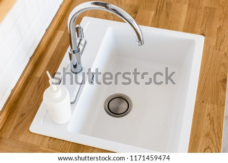 Clean Kitchen White Sink Soap Dispenser Stock Photo Edit Now