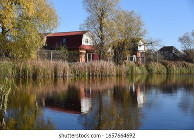 Clean lake and nature near the country houses