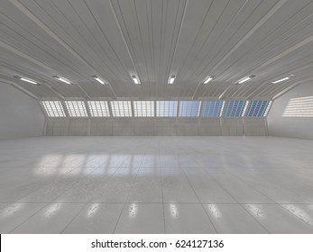 Clean light warehouse background. 3D rendering