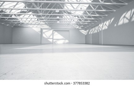 Clean light warehouse car background 3D rendering