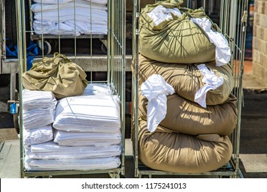 Clean linen and dirty linen in carts