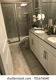 Clean modern bathroom with shower