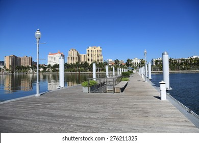 Clean and modern public docks in downtown West Palm Beach, Florida.