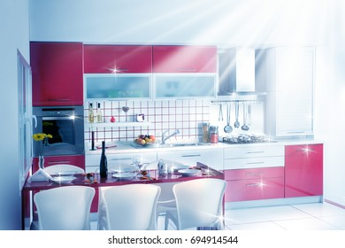 clean modern red kitchen design with lights and reflections