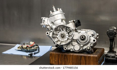 Clean motorcross racing engine assembly