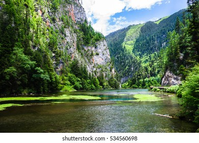 Clean mountain river and majestic mountains with ancient forest. Jiuzhaigou nature reserve and national park, China.