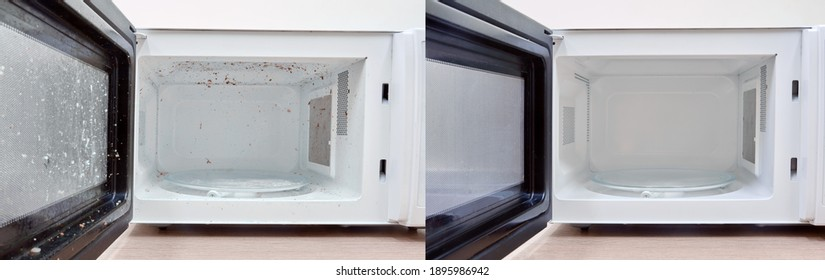 Clean niche and door of the microwave oven after washing. Kitchen appliances before and after washing and cleaning.