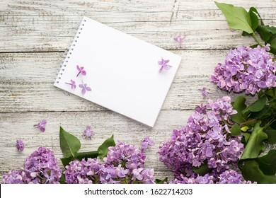 Clean notepad with spring lilac flowers on white wooden background. Top view with copyspace