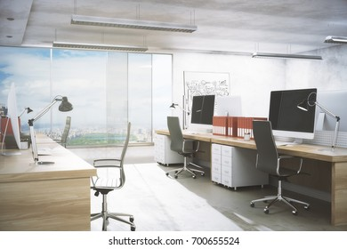 Clean office room interior with workplace, equipment, city view and daylight. Real estate, workspace, business concept. 3D Rendering