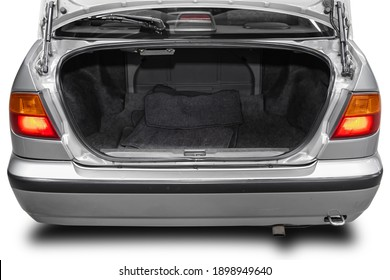 Clean, open empty trunk in the silver car sedan  on white isolated  background