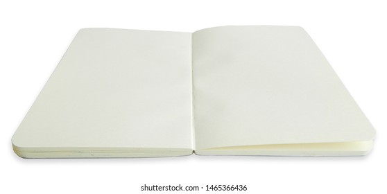 Clean open sketchbook isolated on white background. Mockup with paper notebook