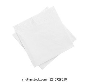 Clean paper napkins on white background, top view
