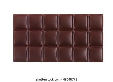 Clean photo of dark chocolate bar isolated on white