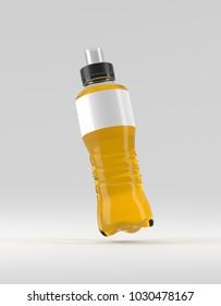 Clean plastic energy drink bottle, soda, juice, lemonade mockup, 3D illustration