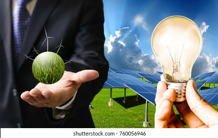 Clean power from solar cells and wind turbines, Sustainable energy concept