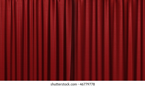 clean red curtain
