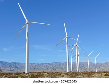Clean, Renewable Energy for the Future: Wind Turbines in Wind Farm, Southwest Desert, USA