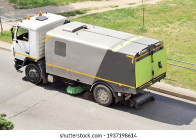 Clean roads. Street cleaning with road combination machine