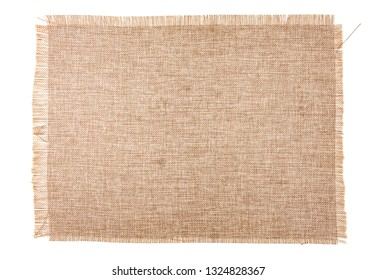 Clean sackcloth fabric closeup, on white background.